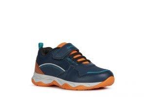 Geox Calco Boy Runners Navy and Orange