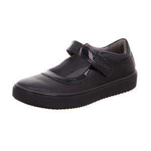 Superfit Heaven Black Leather Girls School Shoes
