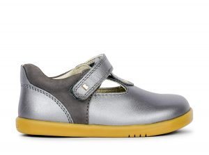 Bobux Louise T-bar Girls Shoes Grey Shimmer