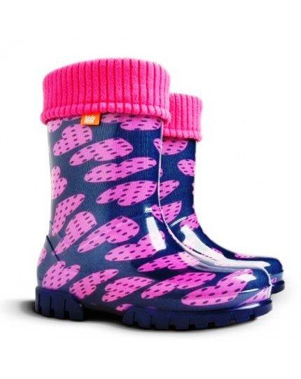 Demar Wellingtons Twister Lux Print Navy/Pink Hearts