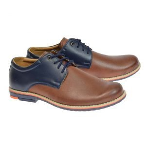 Tim Formal Leather Boys Shoes Tan/Navy