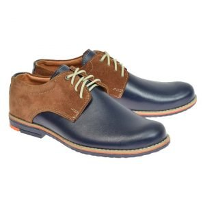 Tim Formal Leather Boys Shoes Navy/Tan