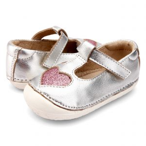OldSoles Pave Love Baby Girl Prewalkers Leathers Silver/Pink