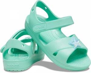 Crocs Kids 206947-3u3 Cross-Strap Charm Sandals Pistachio