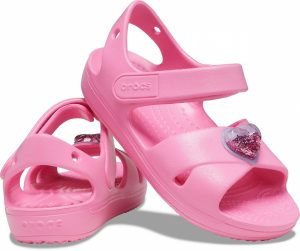 Crocs Kids 206947-669 Cross-Strap Charm Sandals Pink Lemonade
