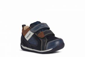 Geox B Each Baby Boy First Sneakers Navy/Lt Brown