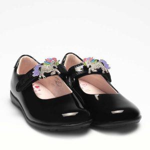 Lelli Kelly LK8253 Blossom2 G Fitting Girls Shoes Black Patent
