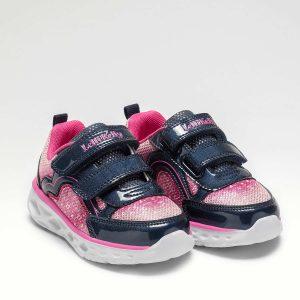Lelli Kelly LK4840 Eliza Girls Light Up Runners Navy/Pink